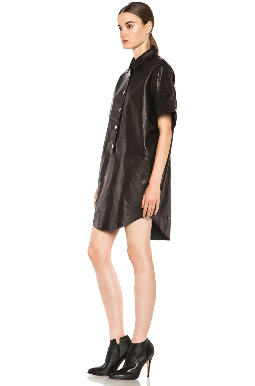 Image 2 of Acne Studios Marla Lambskin Dress in Black Noir
