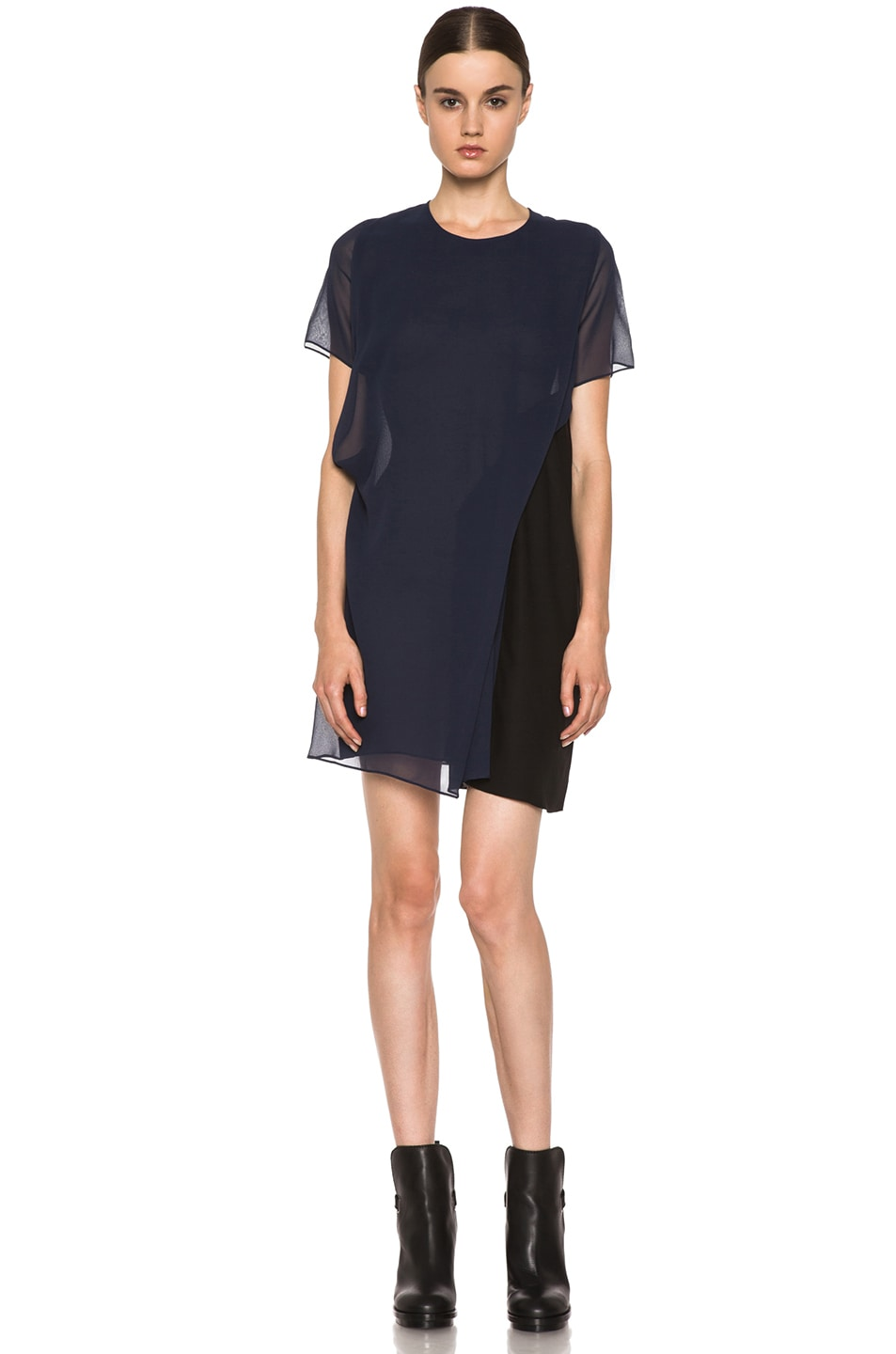 Image 1 of Acne Studios Paloma Silk Dress in Midnight Blue