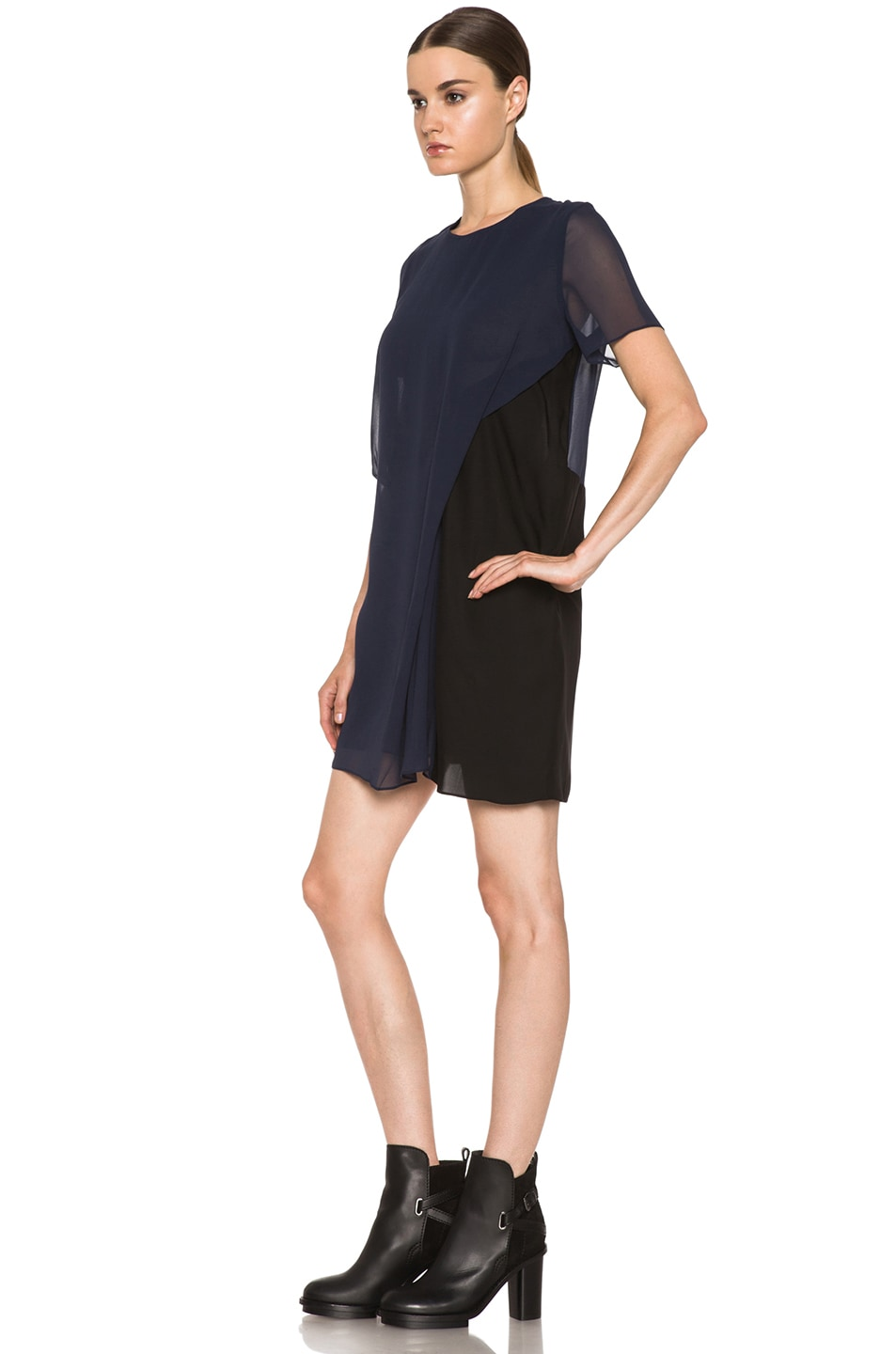 Image 2 of Acne Studios Paloma Silk Dress in Midnight Blue