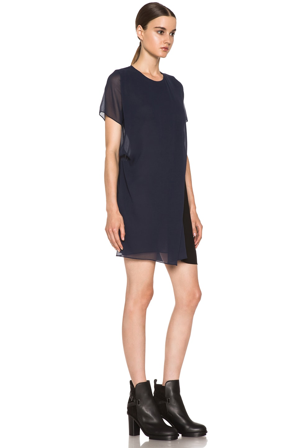 Image 3 of Acne Studios Paloma Silk Dress in Midnight Blue