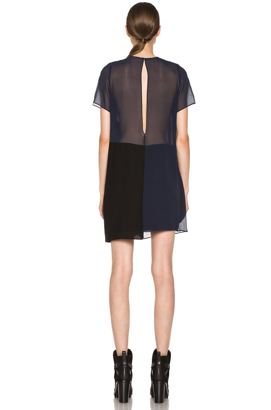 Image 4 of Acne Studios Paloma Silk Dress in Midnight Blue