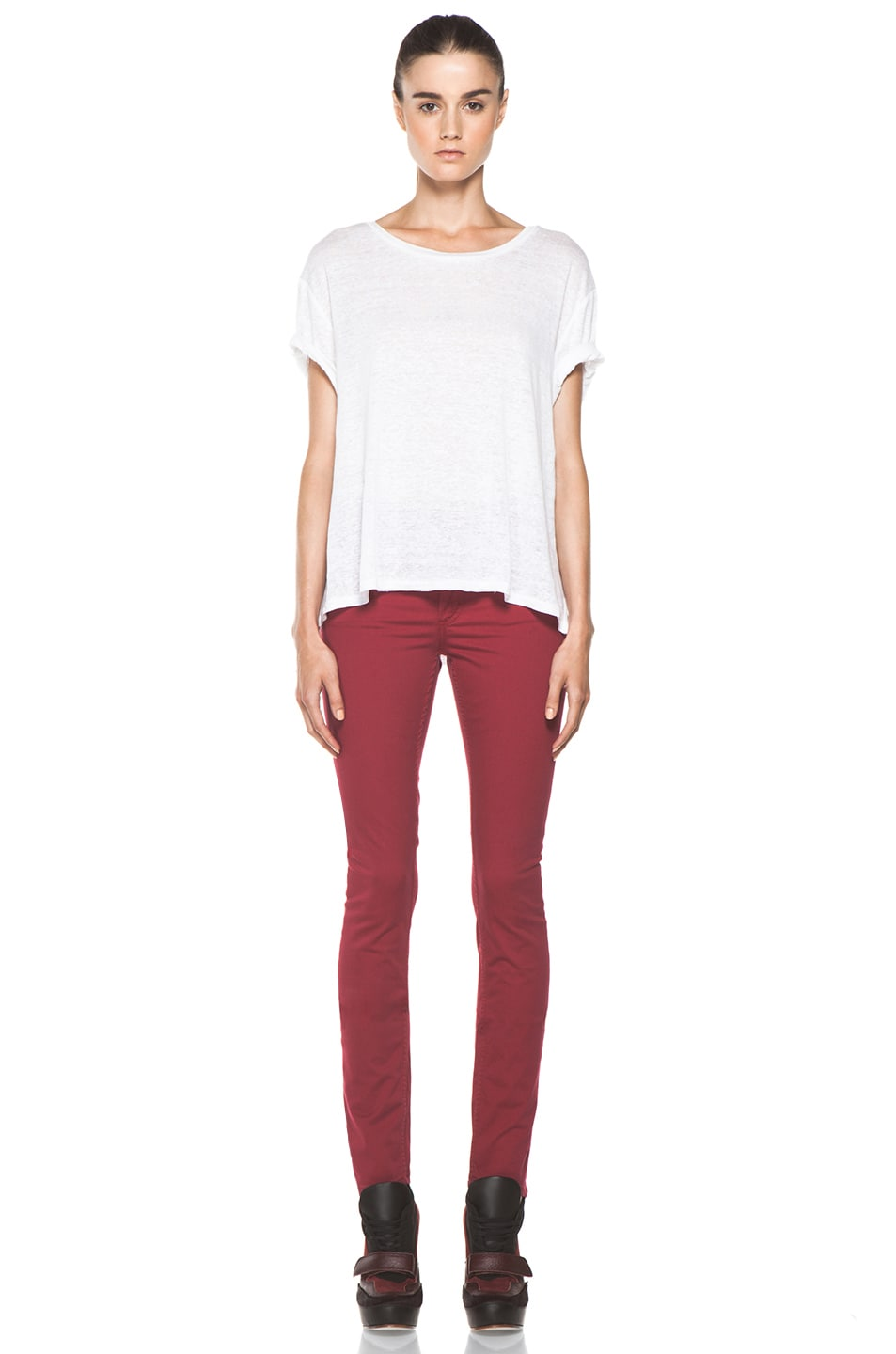 Image 5 of Acne Studios Flex Satin Pant in Red