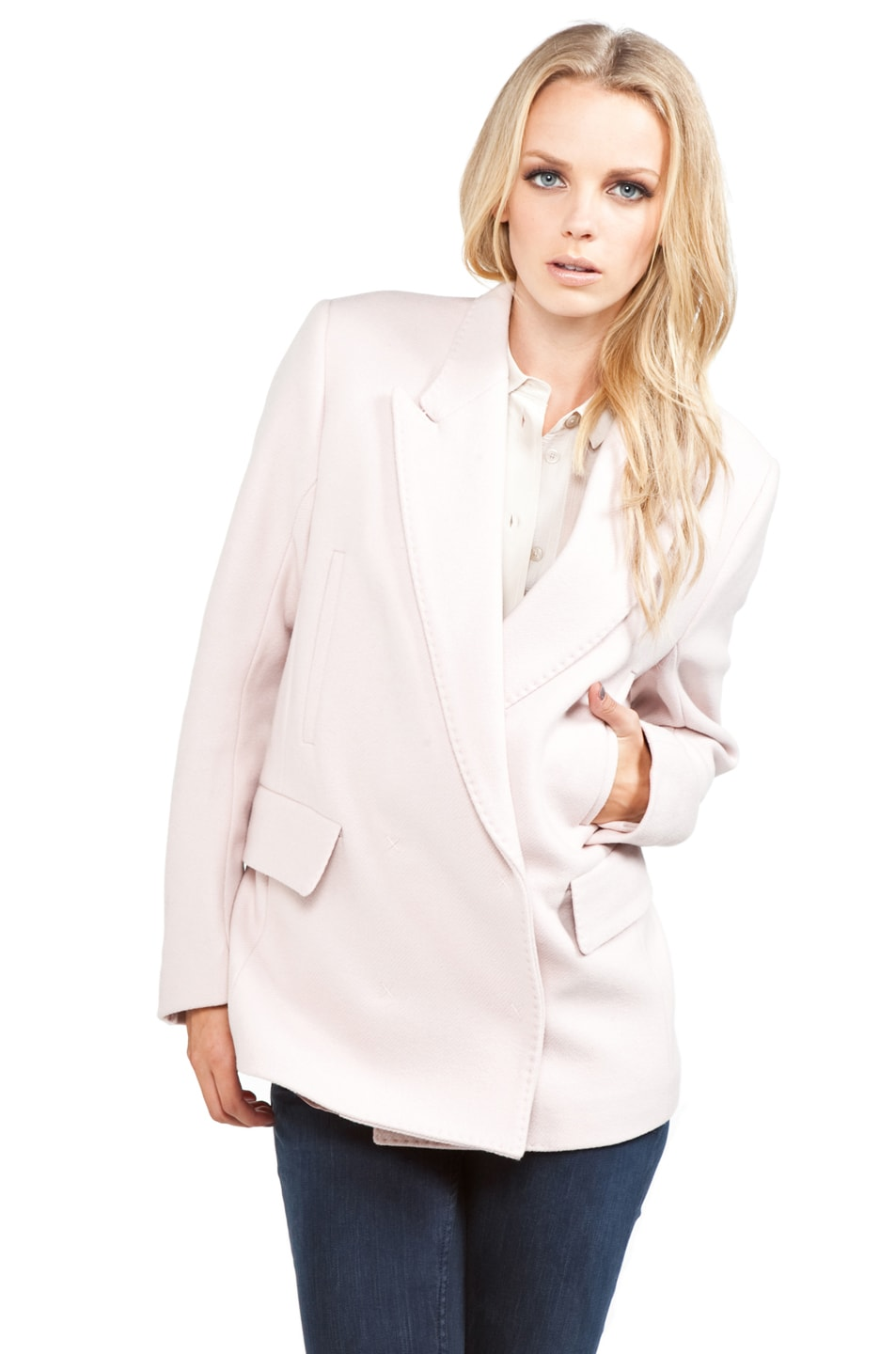 Image 3 of Acne Studios Simone Blazer in Blushed