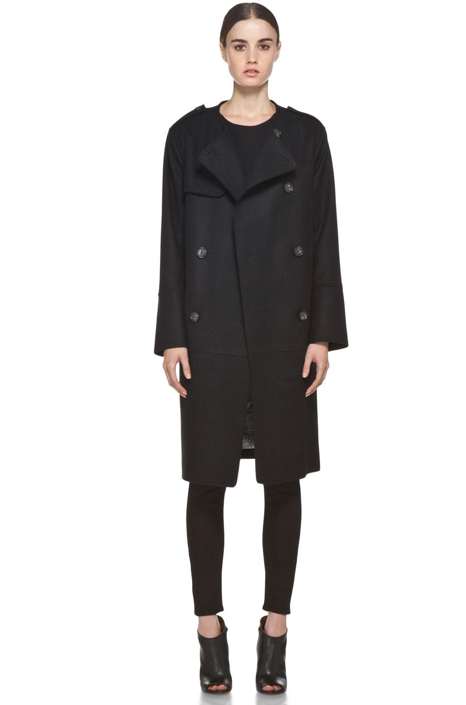 Image 2 of Acne Studios Cary Raw Coat in Black