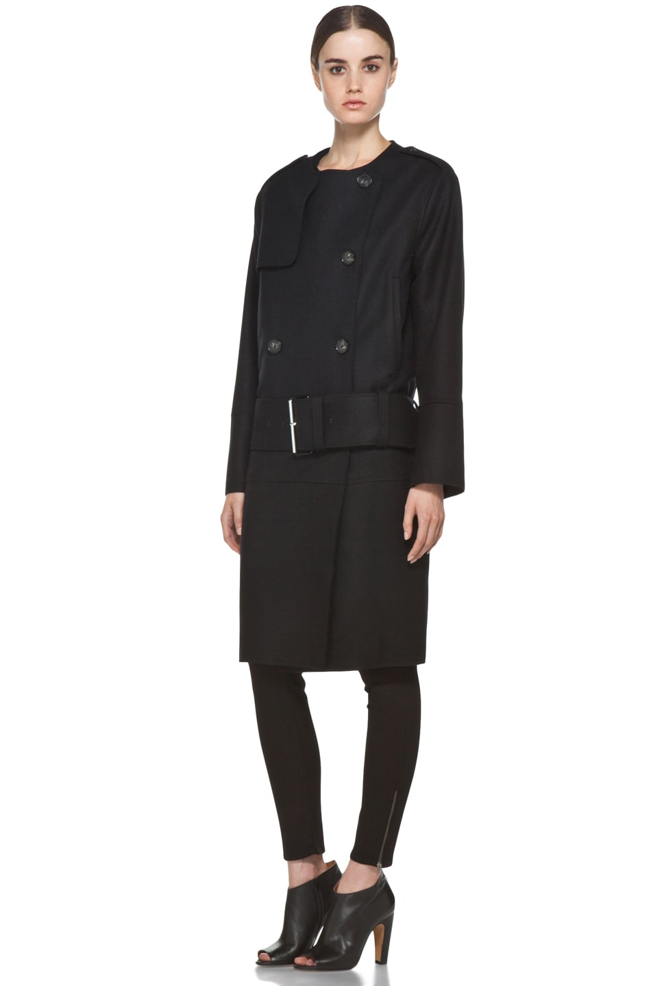 Image 3 of Acne Studios Cary Raw Coat in Black