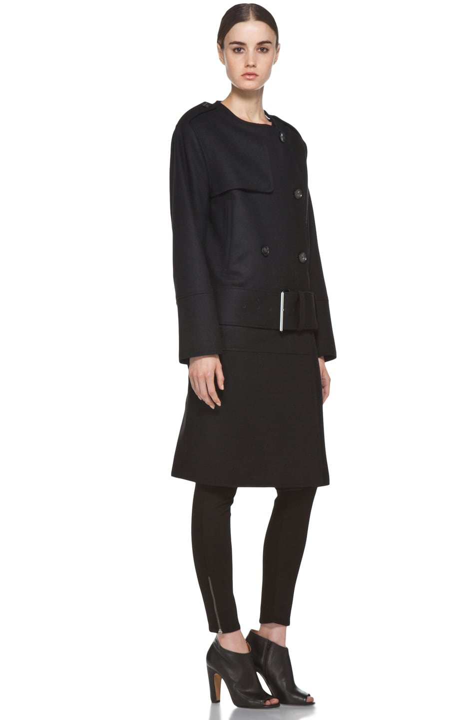 Image 4 of Acne Studios Cary Raw Coat in Black
