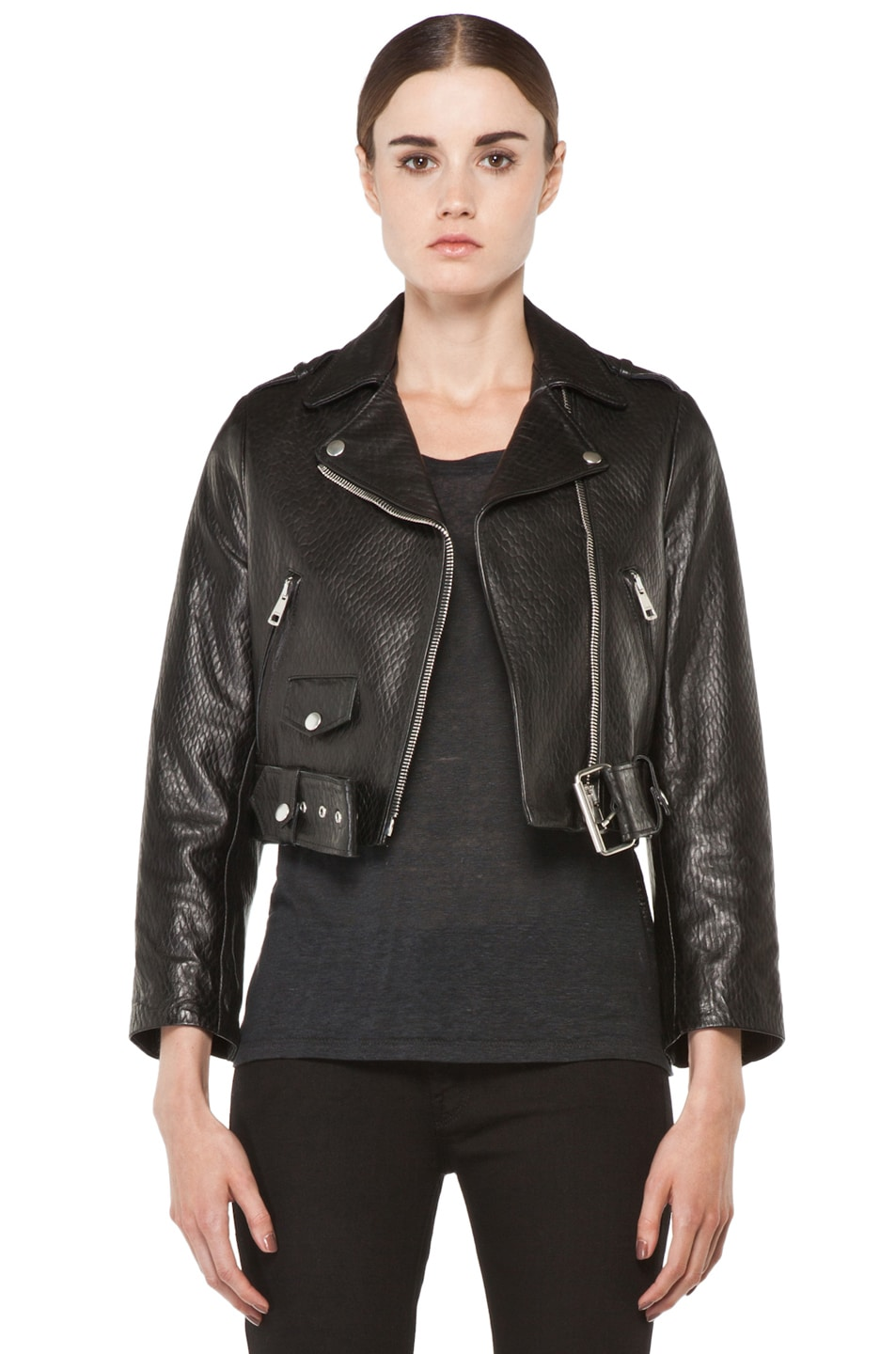 Image 1 of Acne Studios Mape Leather Jacket in Embossed Black