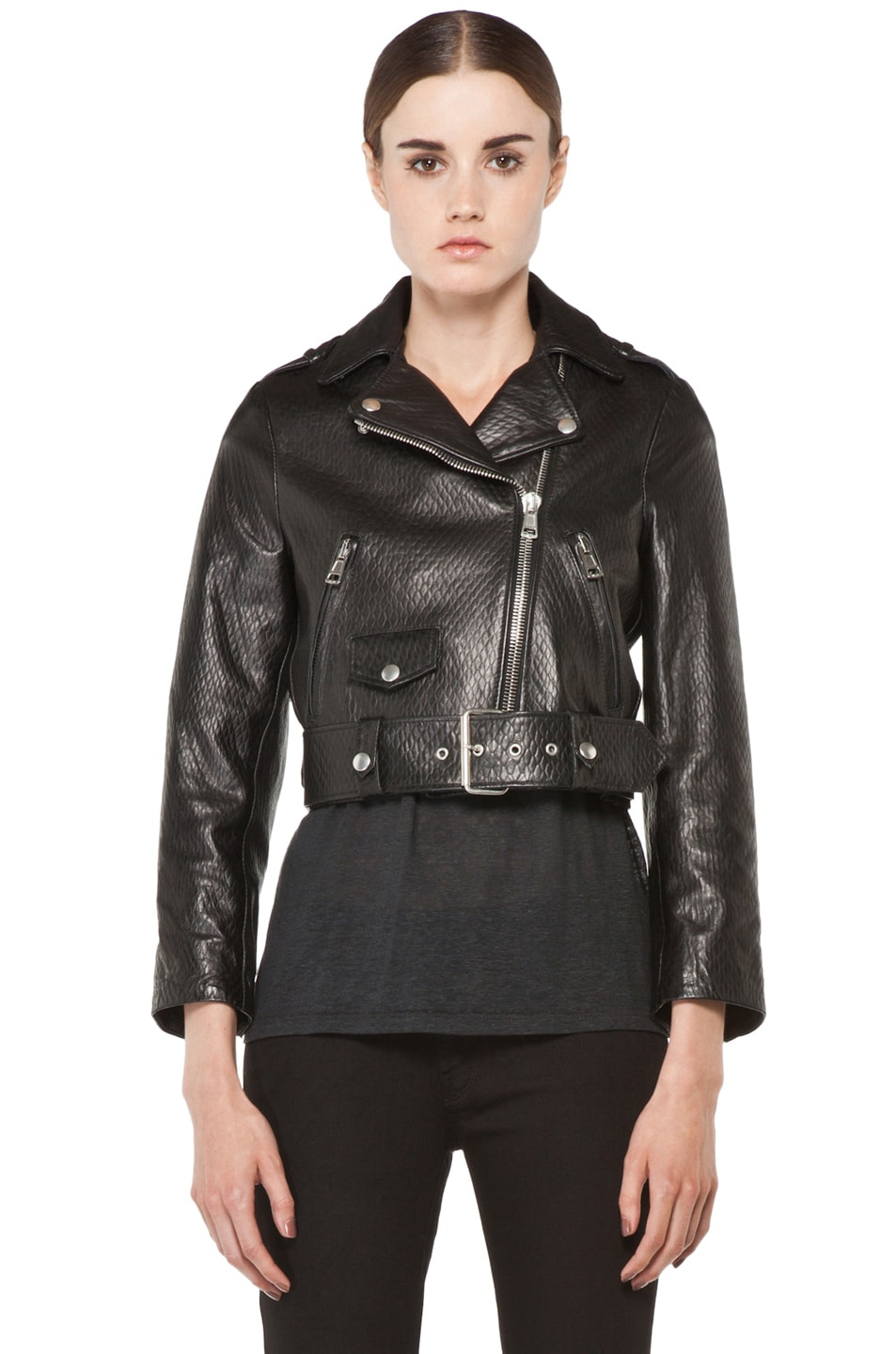 Image 2 of Acne Studios Mape Leather Jacket in Embossed Black