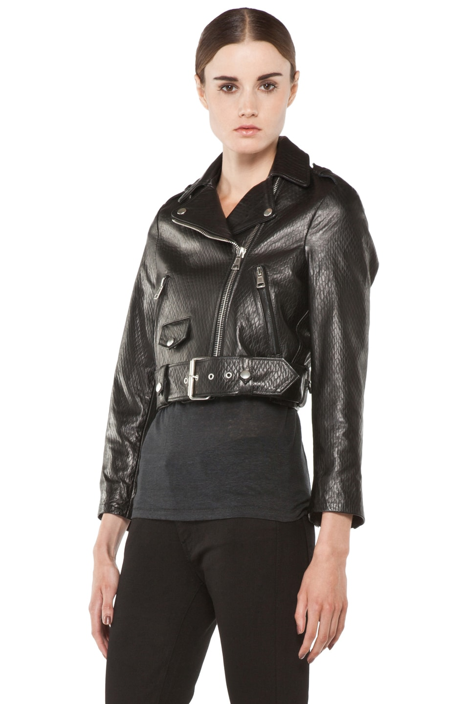 Image 3 of Acne Studios Mape Leather Jacket in Embossed Black