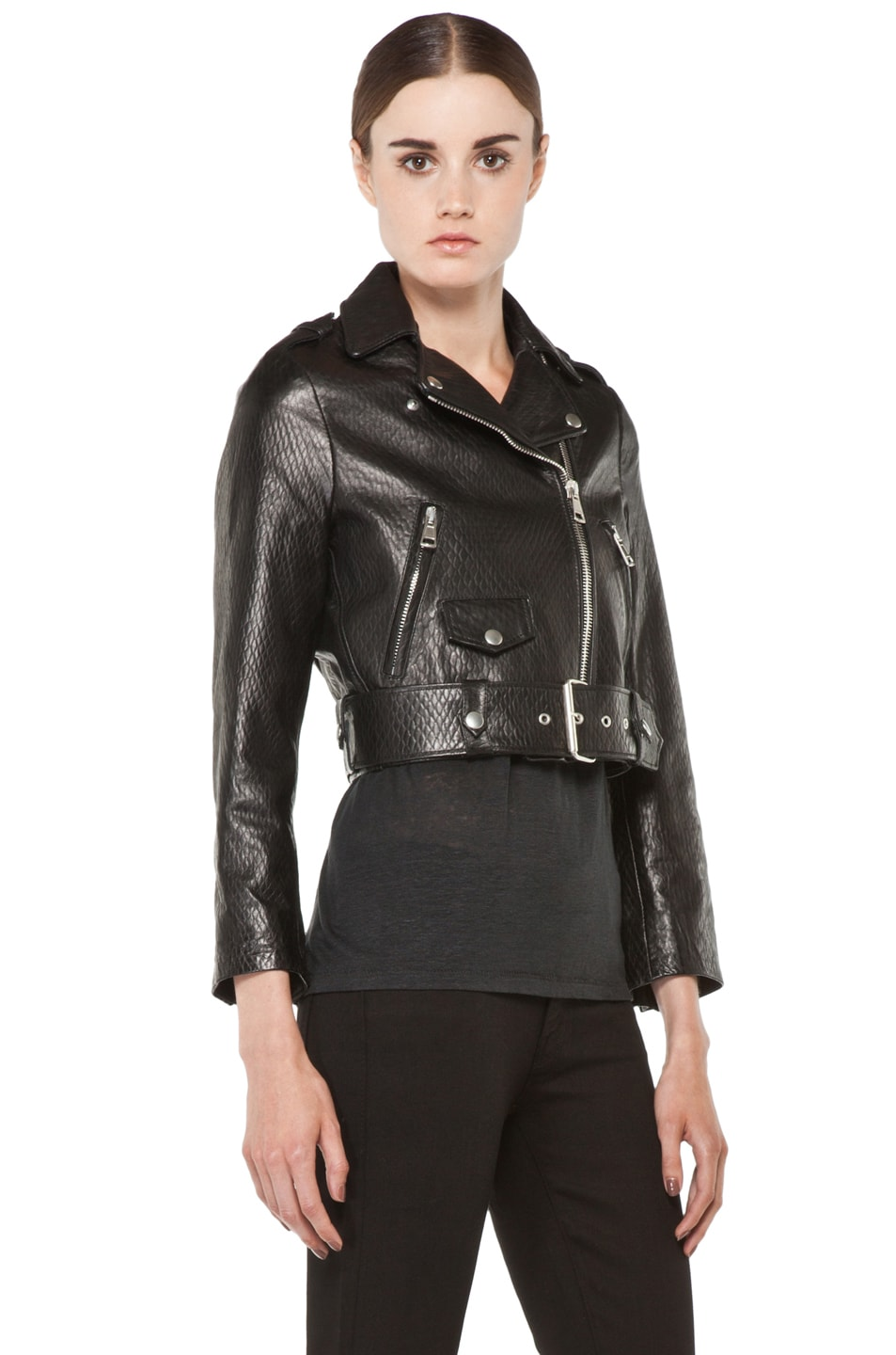 Image 4 of Acne Studios Mape Leather Jacket in Embossed Black