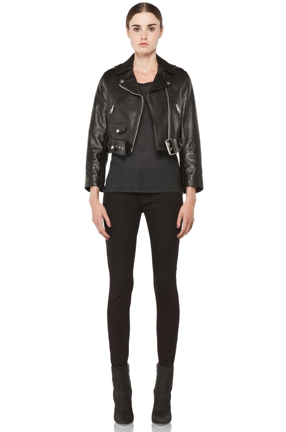 Image 6 of Acne Studios Mape Leather Jacket in Embossed Black