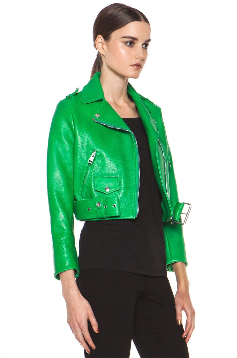 Acne Studios Mape Leather Jacket in Bright Green | FWRD