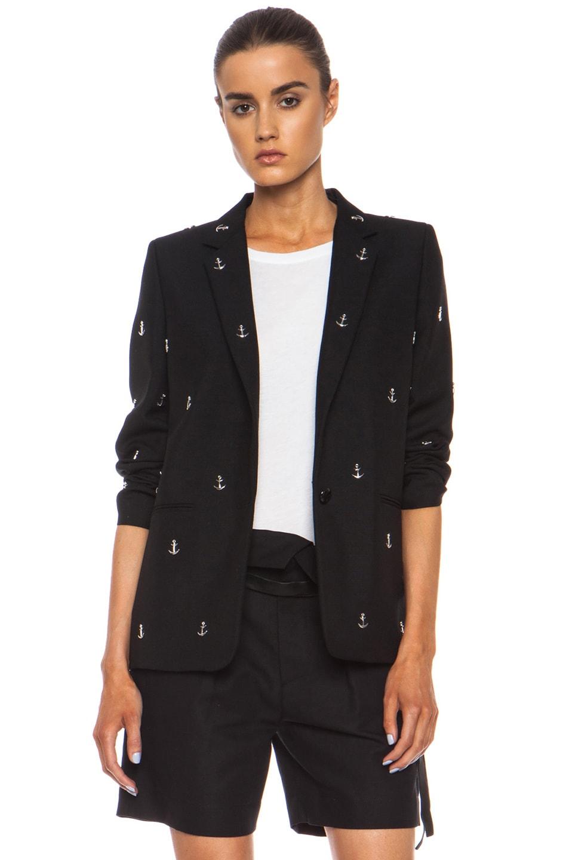 Image 1 of Acne Studios Boy Studded Wool-Blend Blazer in Black