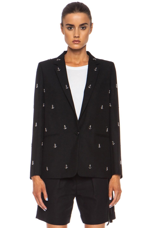 Image 2 of Acne Studios Boy Studded Wool-Blend Blazer in Black