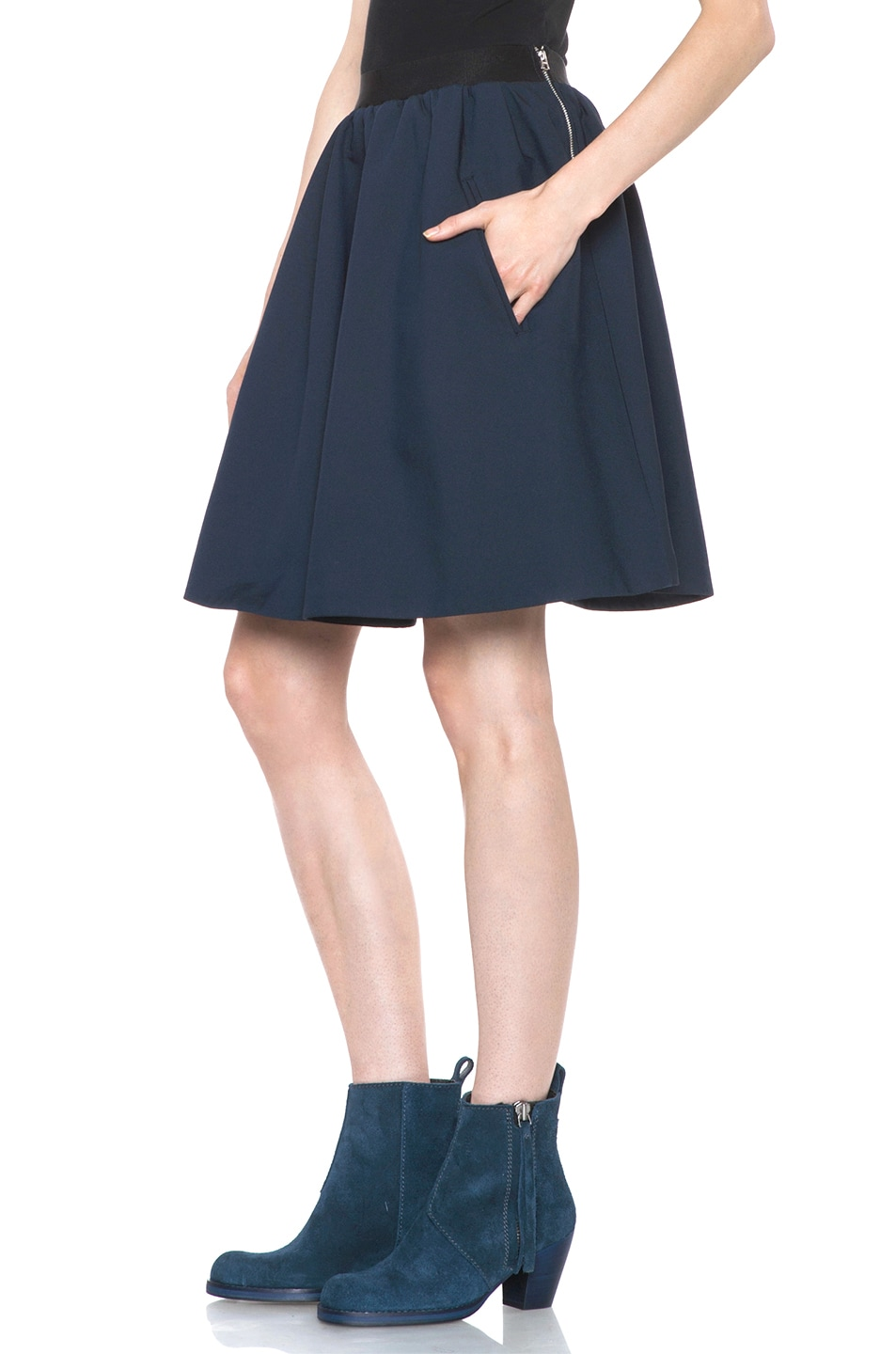 Image 2 of Acne Studios Romantic Nylon Skirt in Midnight Blue