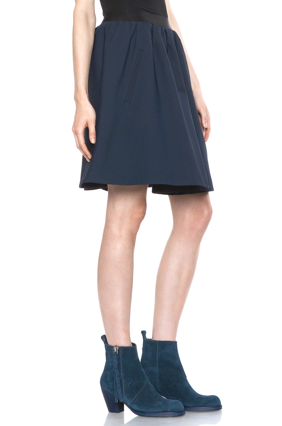 Image 3 of Acne Studios Romantic Nylon Skirt in Midnight Blue