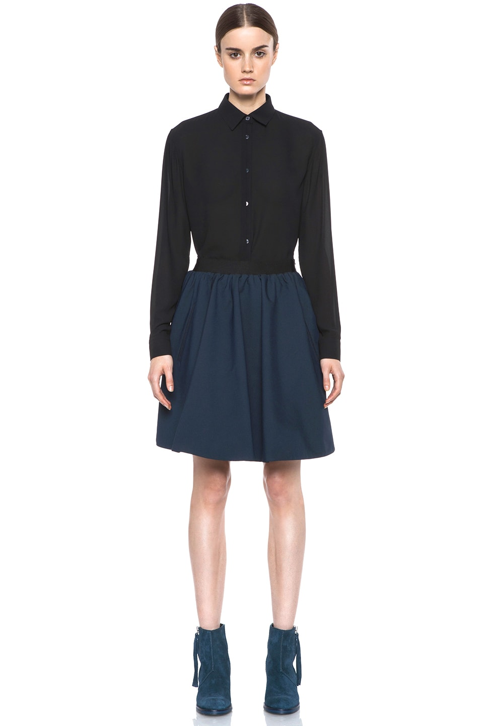 Image 5 of Acne Studios Romantic Nylon Skirt in Midnight Blue