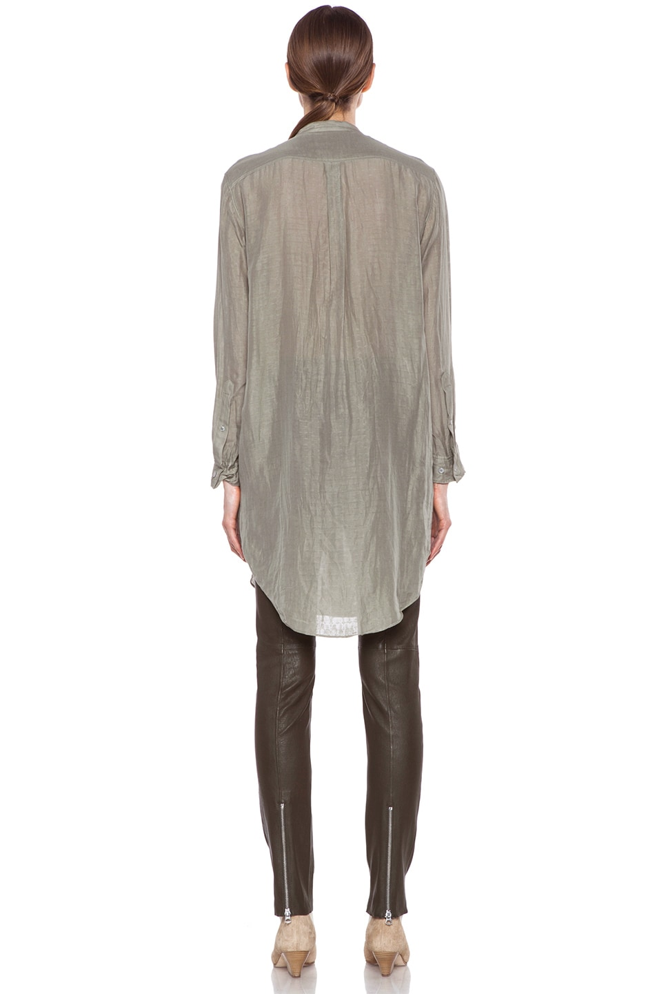 Image 4 of Acne Studios Stormy Silk-Blend Blouse in Moss Green