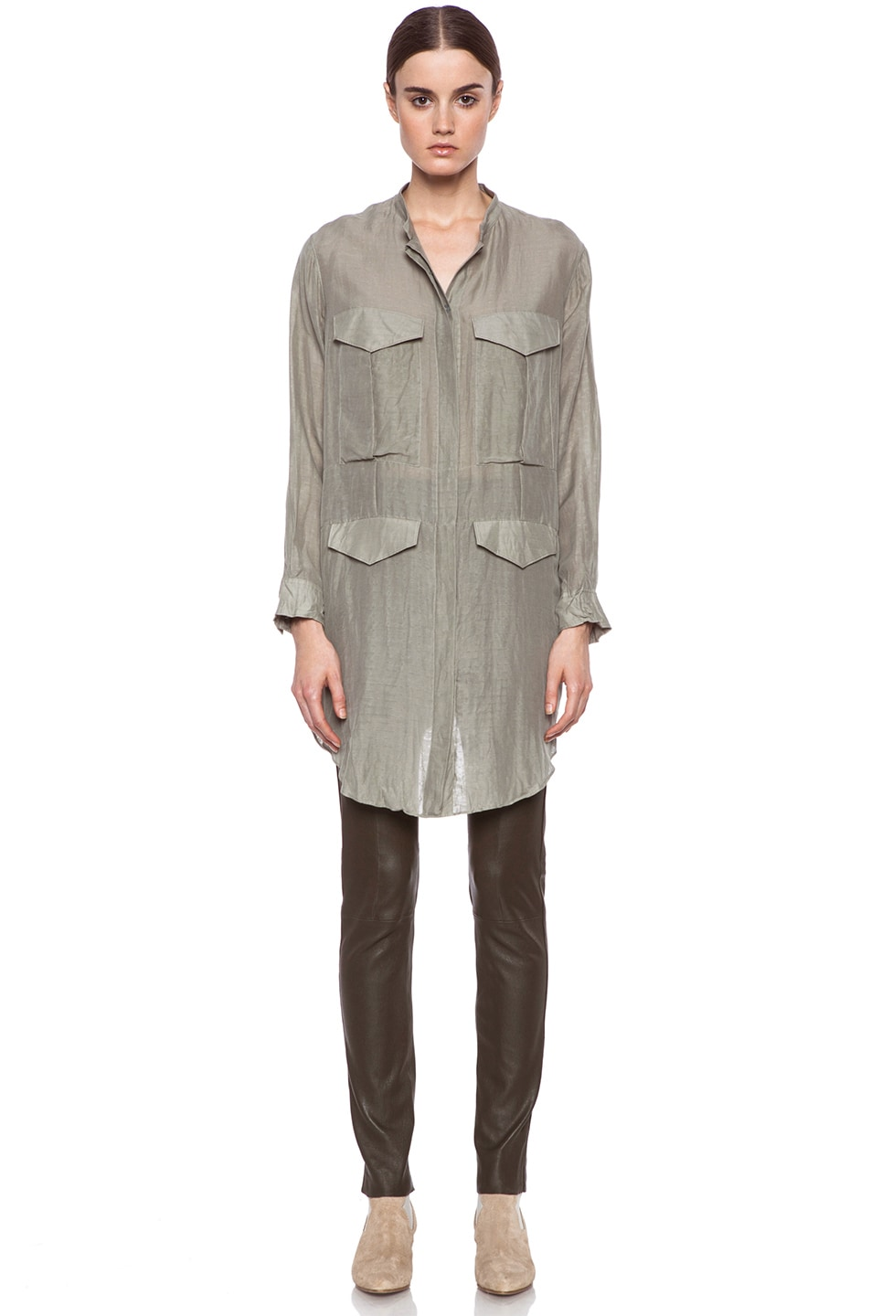 Image 5 of Acne Studios Stormy Silk-Blend Blouse in Moss Green