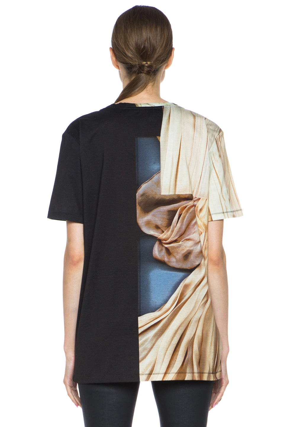 Image 4 of Acne Studios Zone Merc Print Cotton Tee in Pink Dress Off Black