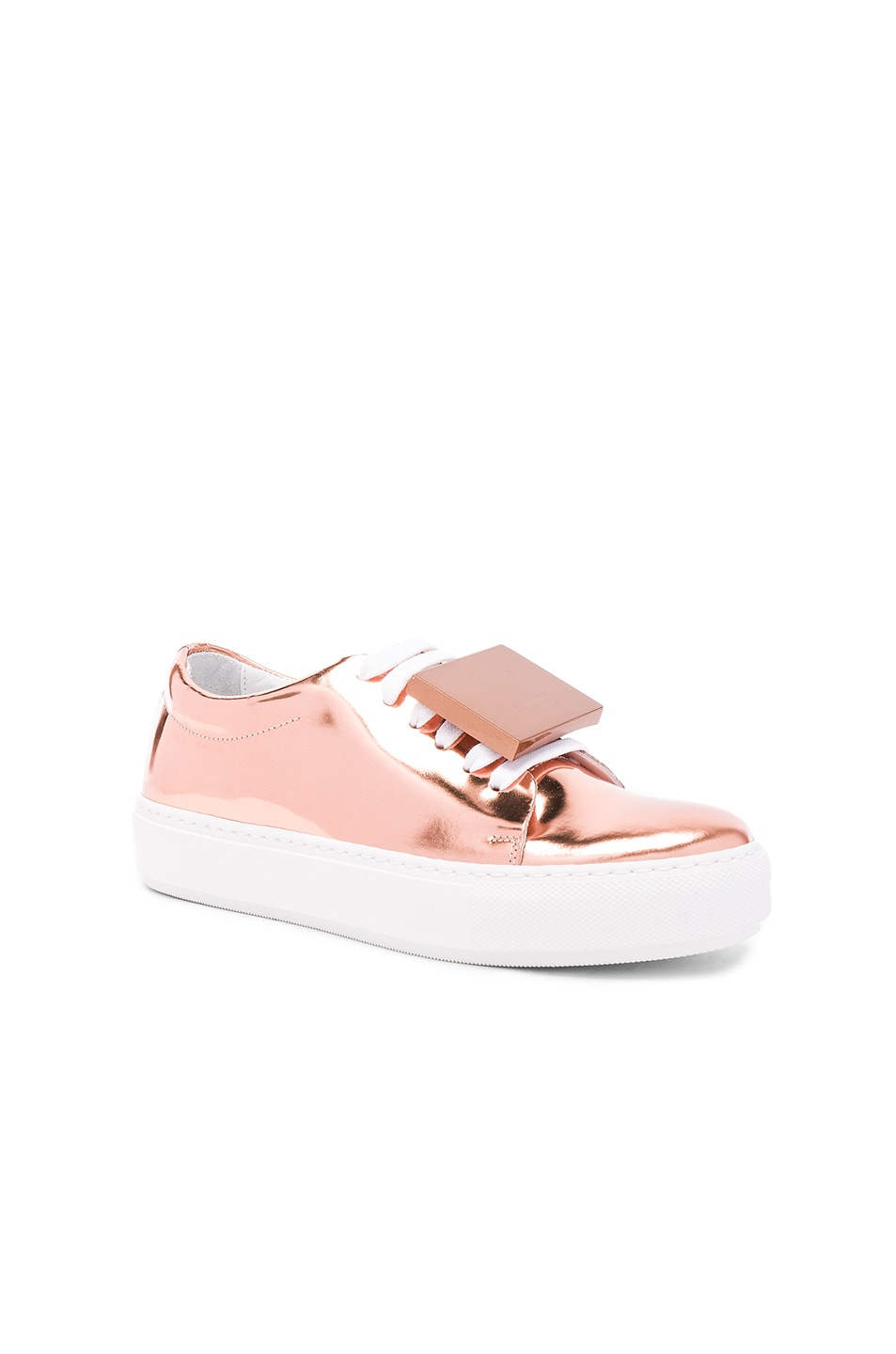 Image 3 of Acne Studios Adriana Metallic Leather Sneakers in Copper