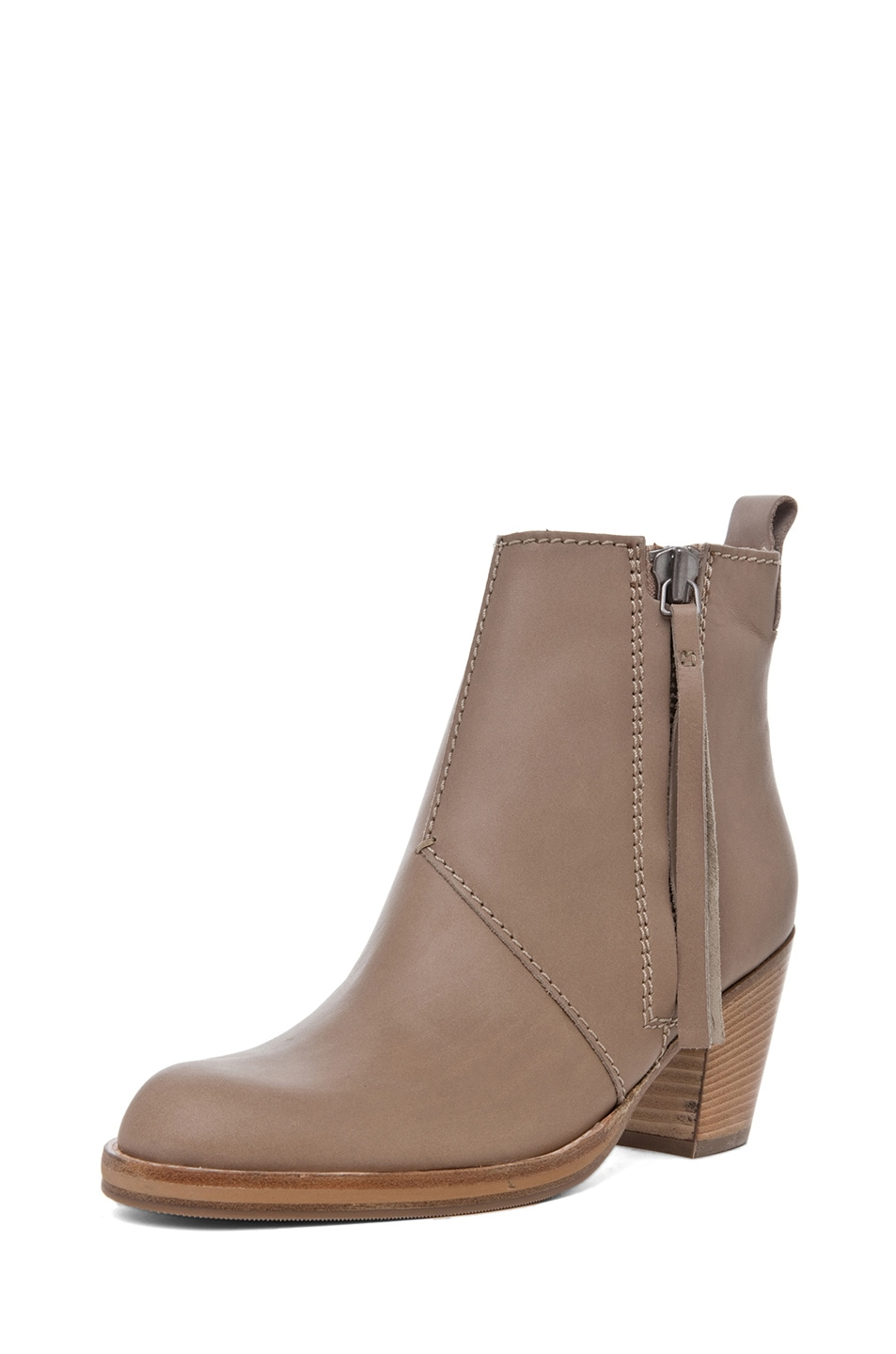 Image 2 of Acne Studios Pistol Leather Bootie in Coffee