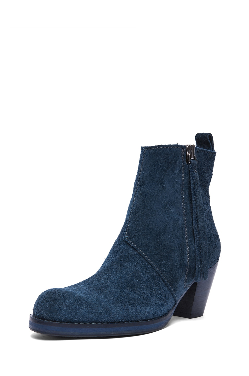 Image 2 of Acne Studios Pistol Suede Booties in Navy