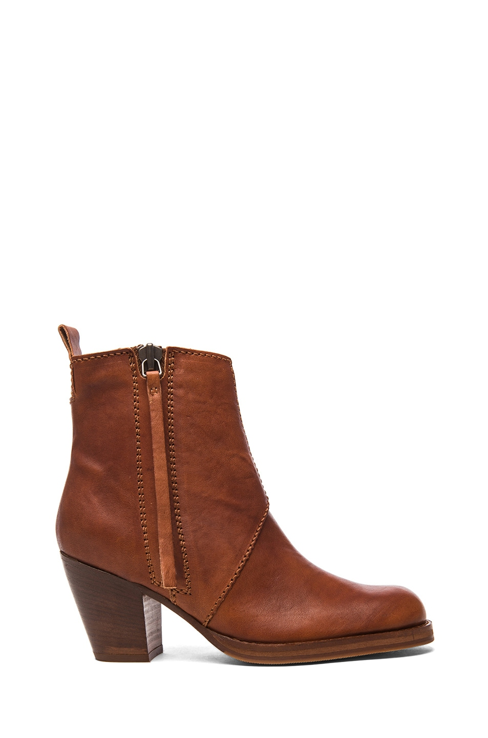 Image 1 of Acne Studios Pistol Leather Booties in Chestnut