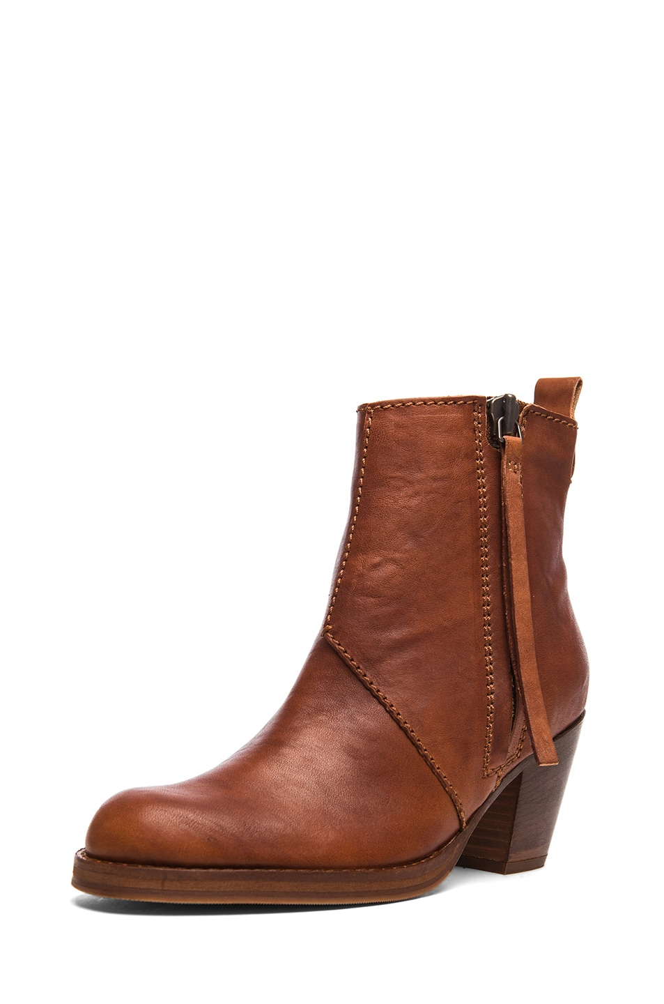 Image 2 of Acne Studios Pistol Leather Booties in Chestnut