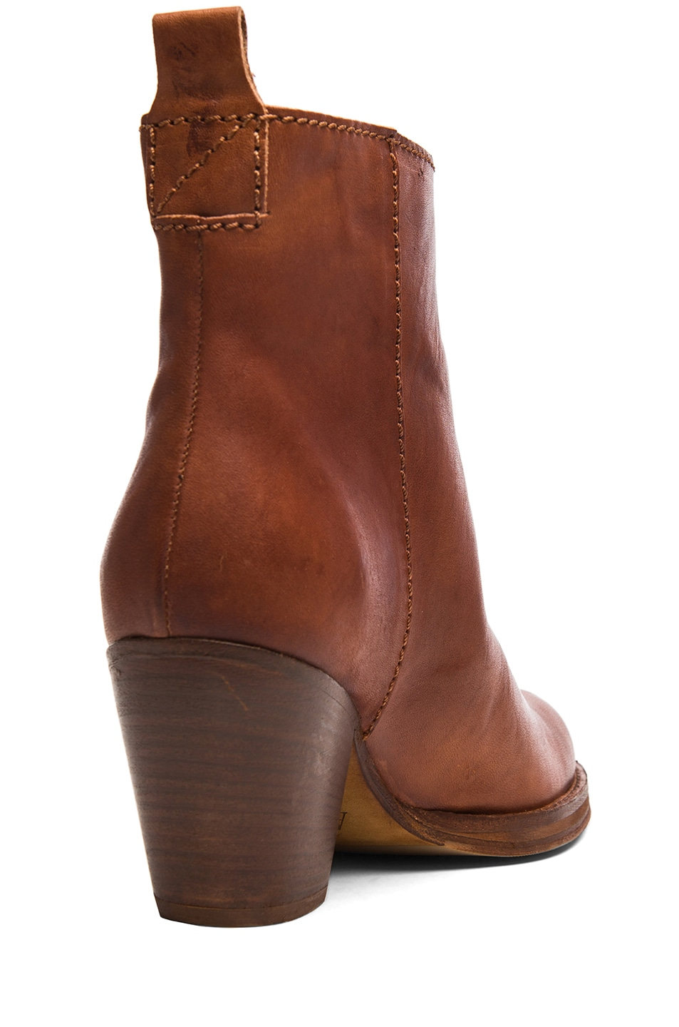 Image 3 of Acne Studios Pistol Leather Booties in Chestnut