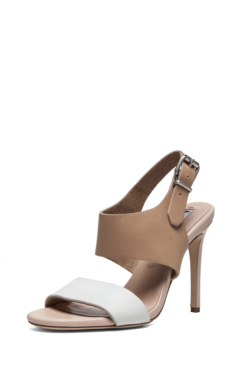 Image 2 of Acne Studios Tillie Leather Sandals in Nude & White