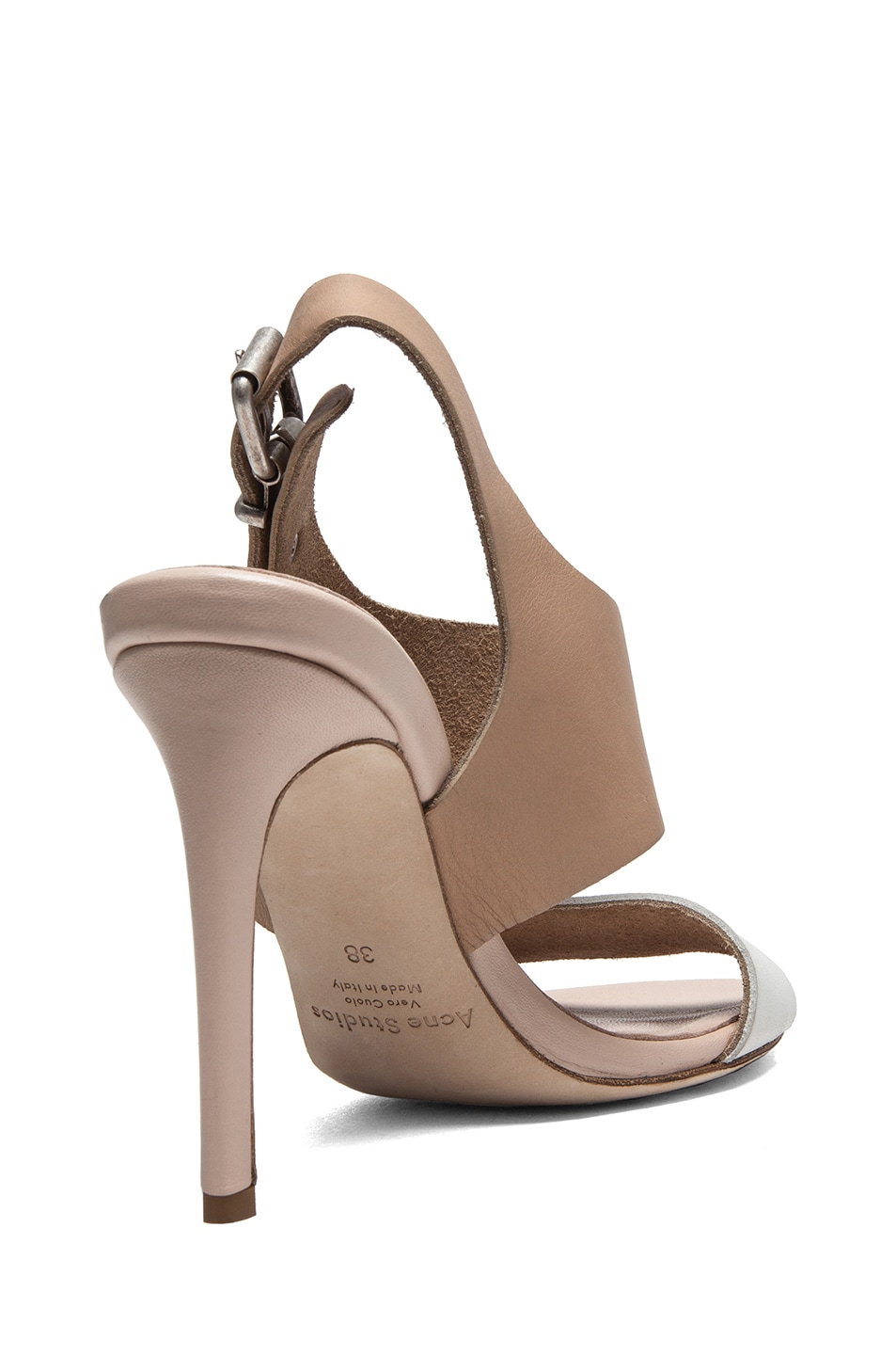 Image 3 of Acne Studios Tillie Leather Sandals in Nude & White
