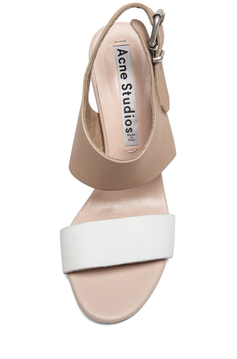 Image 4 of Acne Studios Tillie Leather Sandals in Nude & White