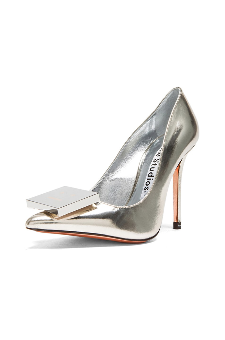 Image 2 of Acne Studios Alivia Metallic Leather Pumps in Light Gold