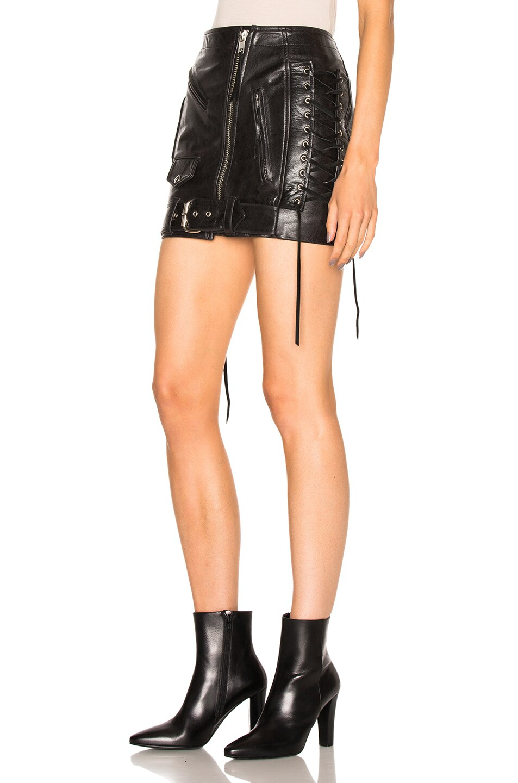adaptation leather moto skirt in black fwrd