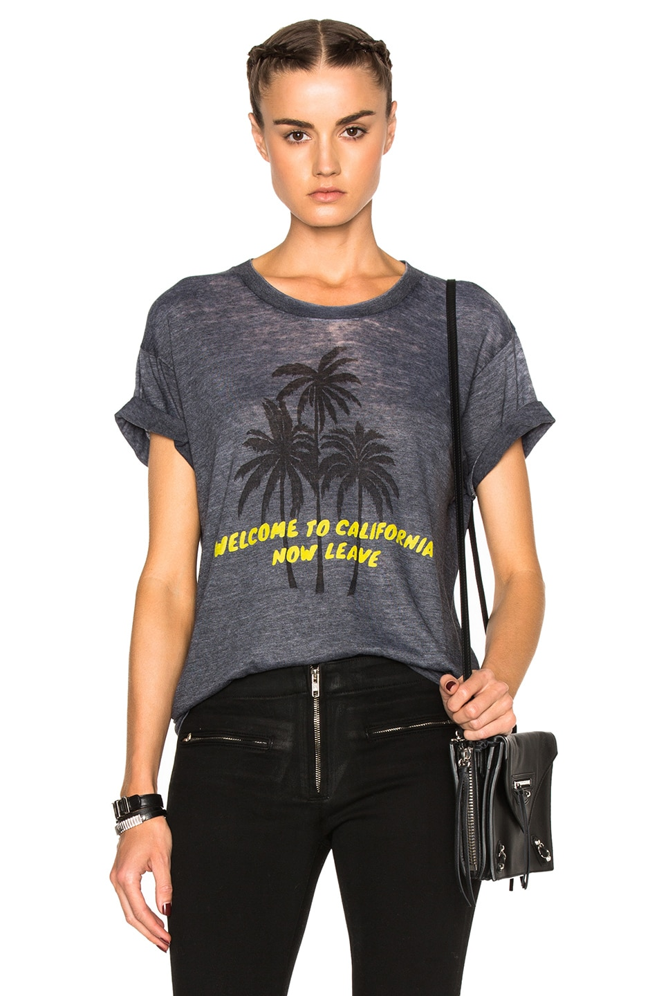 Image 1 of Adaptation Palm Vintage Tee in Grey & Yellow
