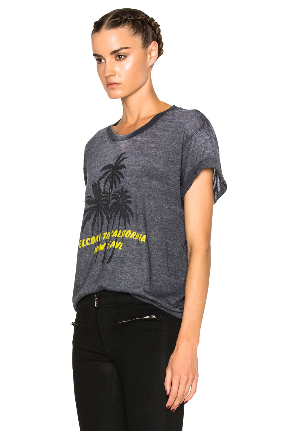 Image 2 of Adaptation Palm Vintage Tee in Grey & Yellow