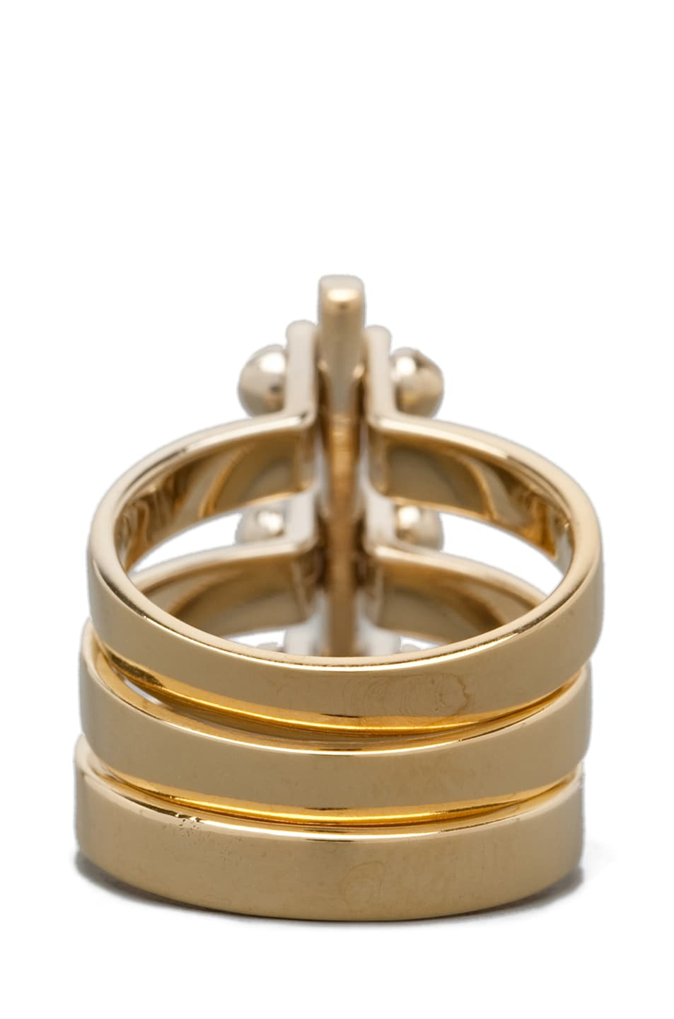 Image 4 of A.L.C. Three Section Hand Cuff Ring in Brass