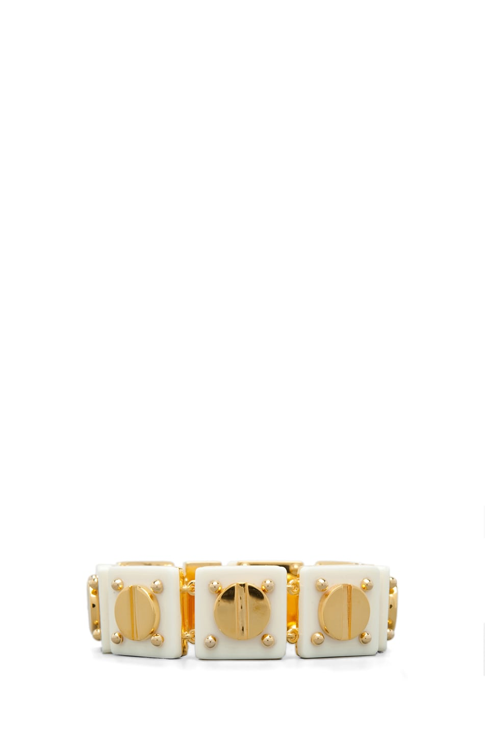 Image 1 of A.L.C. Ivory Resin and 14 kt Yellow Gold Plated Screw Tennis Bracelet