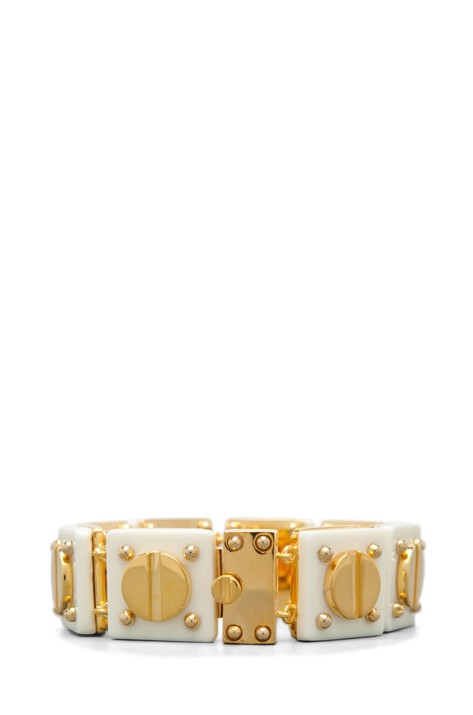 Image 3 of A.L.C. Ivory Resin and 14 kt Yellow Gold Plated Screw Tennis Bracelet
