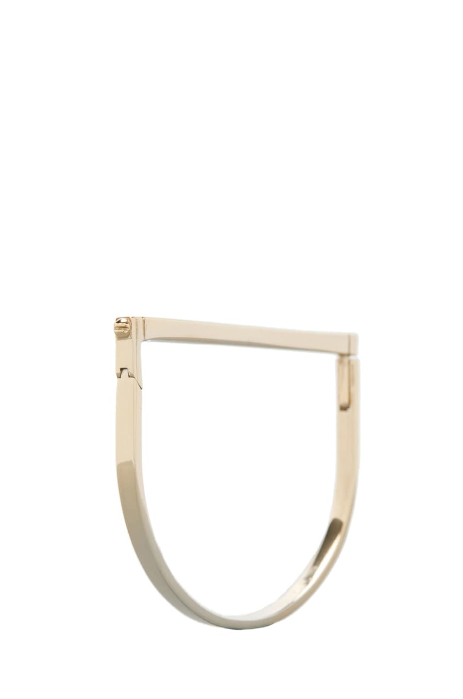 Image 1 of A.L.C. All Metal Thin Hand Cuff Bracelet in Brass