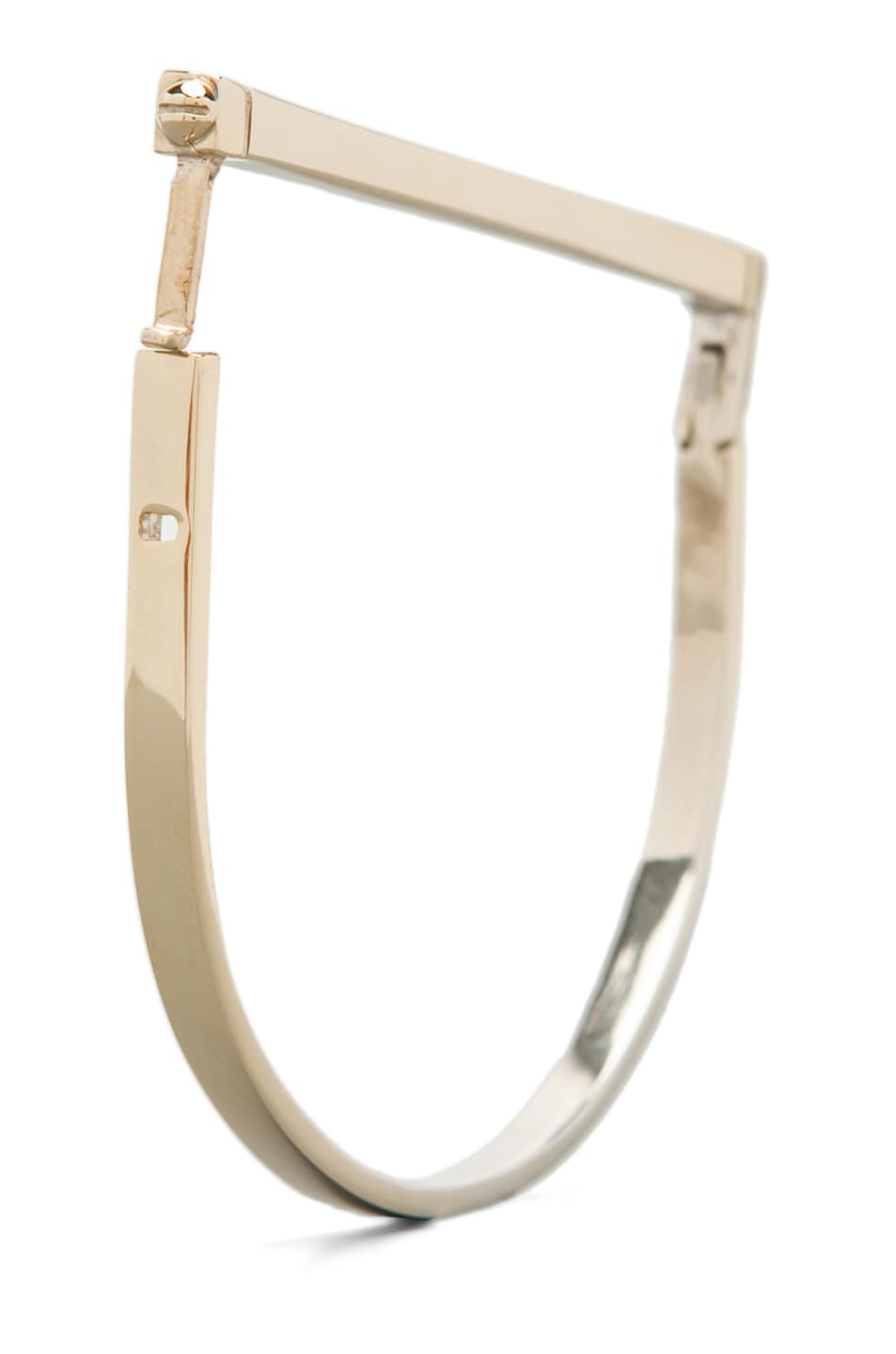 Image 4 of A.L.C. All Metal Thin Hand Cuff Bracelet in Brass