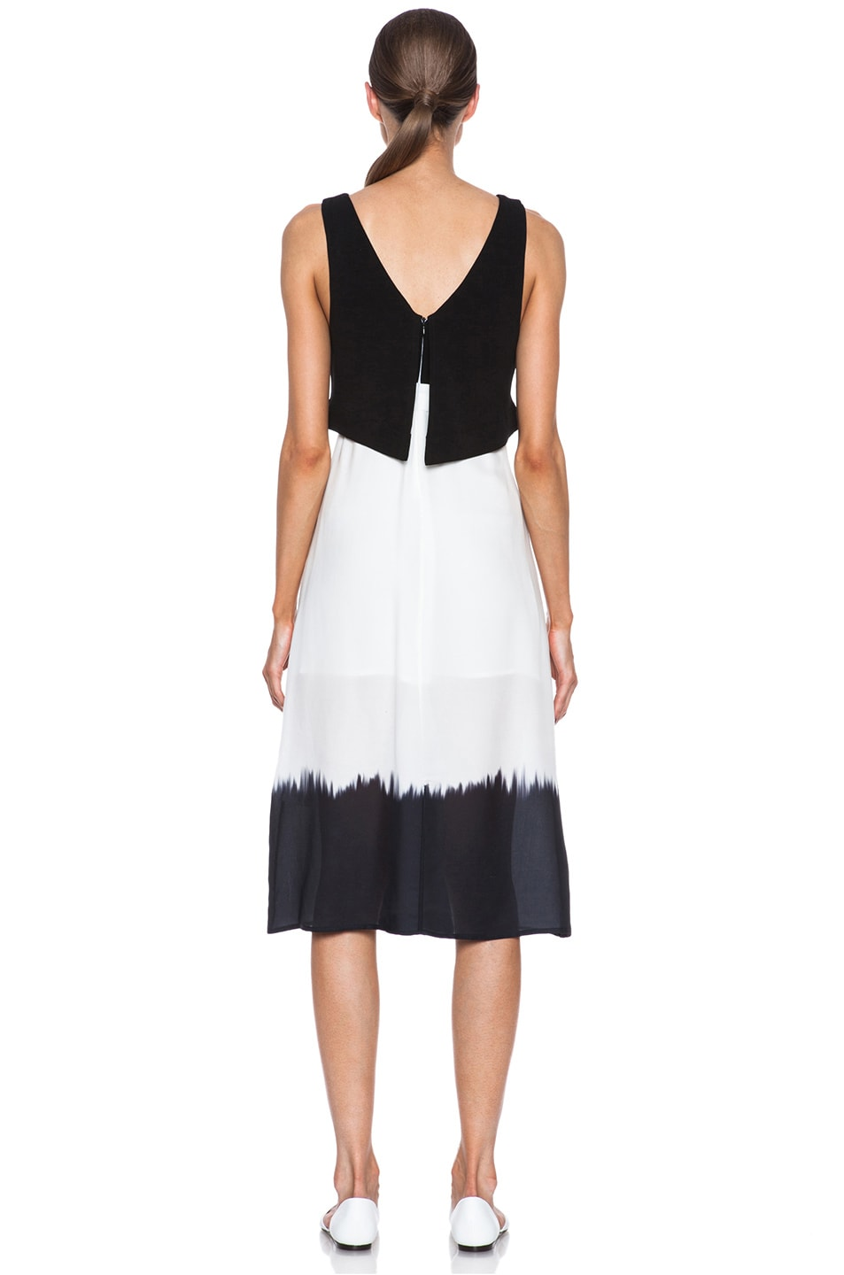 Image 4 of A.L.C. Davis Silk Dress in White & Black