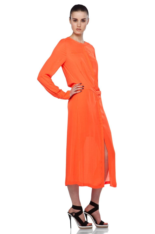 Image 3 of A.L.C. Delilah Dress in Safety Orange
