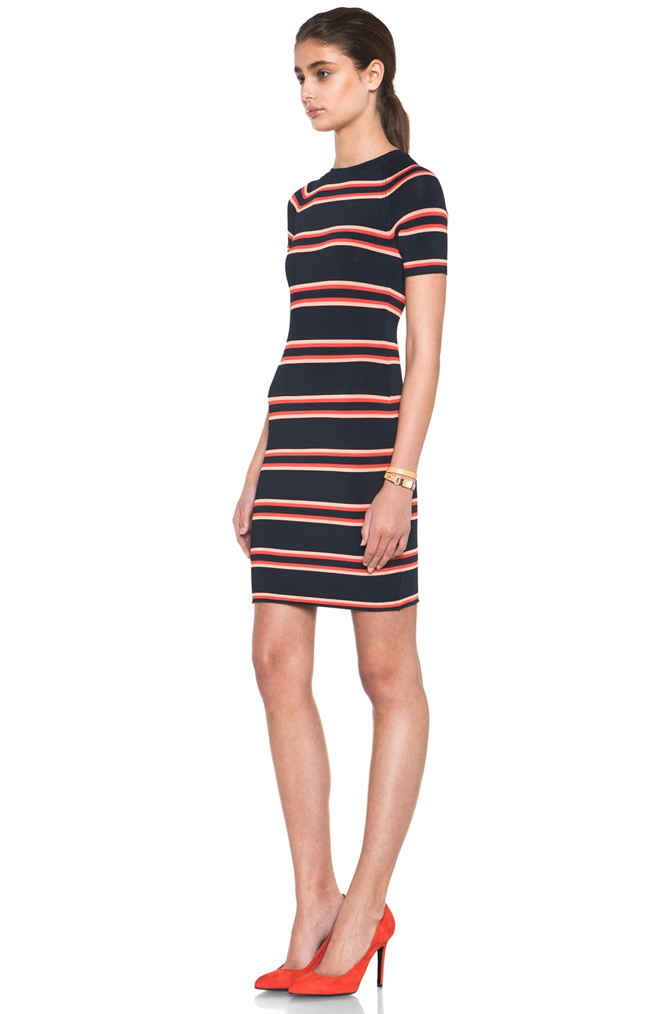 Image 2 of A.L.C. Thompson Dress in Navy & Flame & Coral