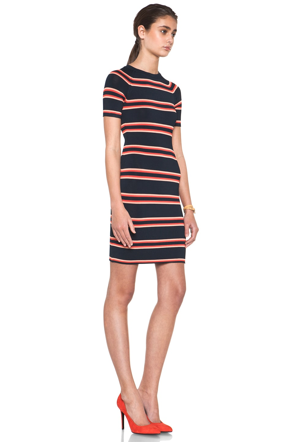 Image 3 of A.L.C. Thompson Dress in Navy & Flame & Coral