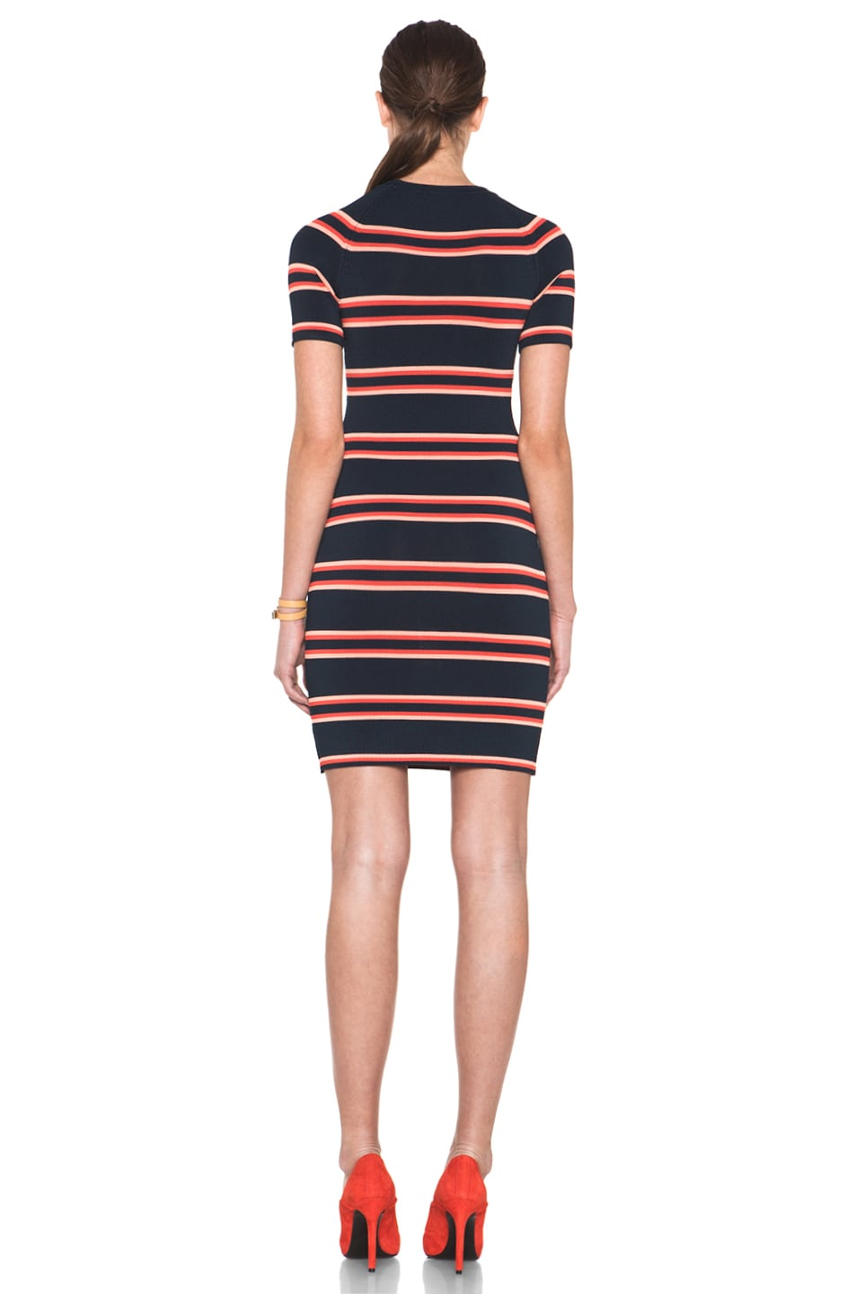 Image 4 of A.L.C. Thompson Dress in Navy & Flame & Coral
