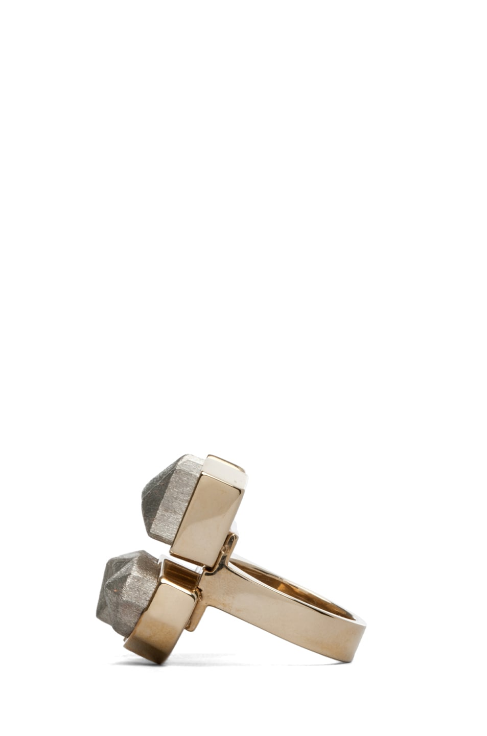 Image 2 of A.L.C. Four Way Faceted Ring in Sterling Brass