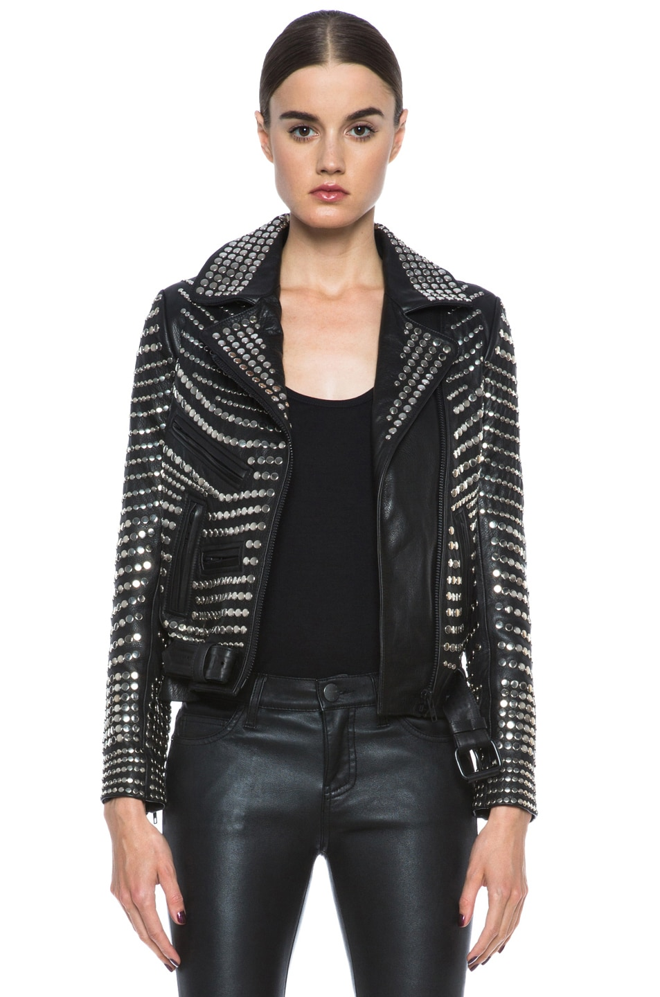 Image 1 of A.L.C. Blake Lambskin Studded Jacket in Black