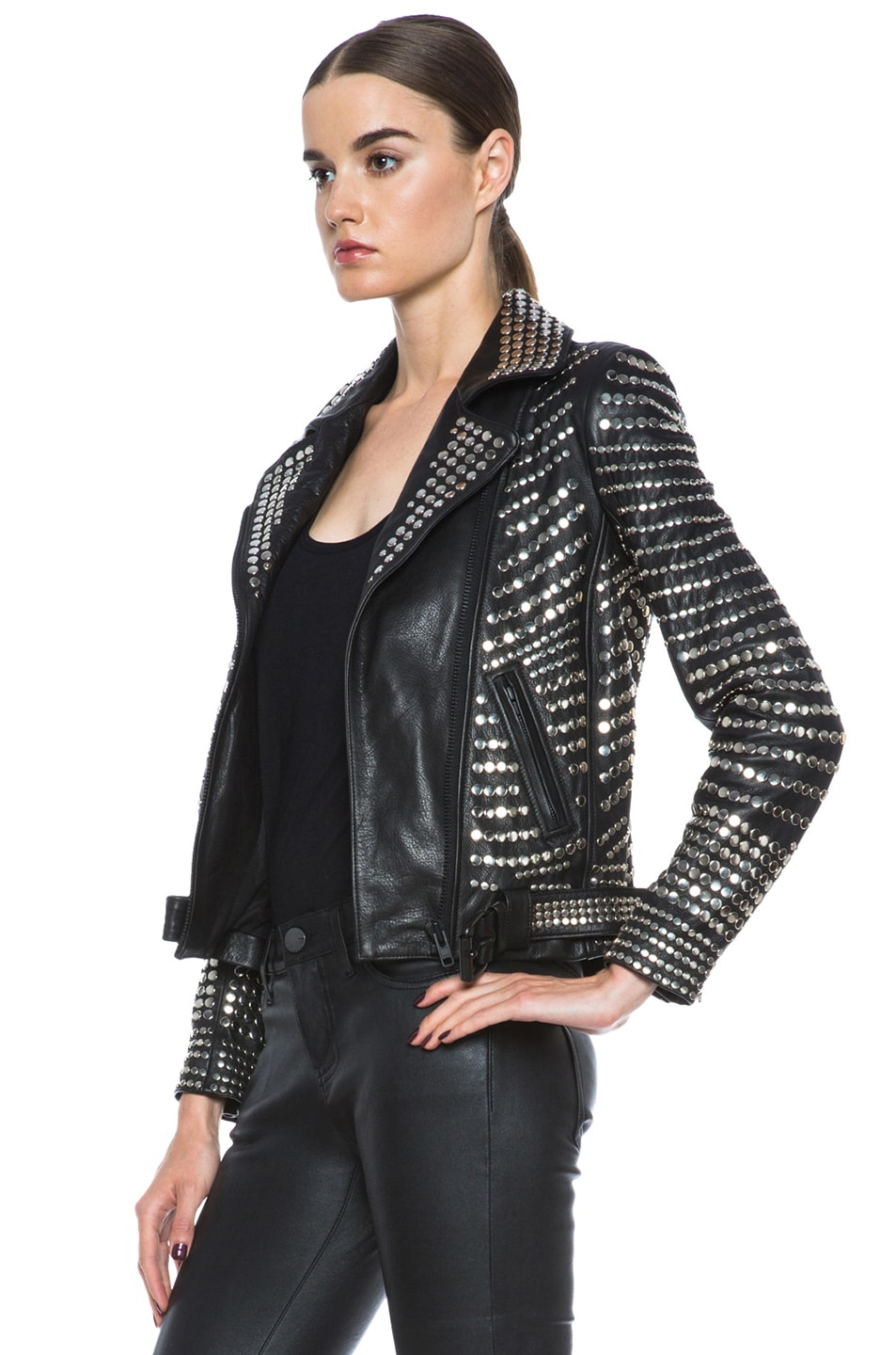 Image 3 of A.L.C. Blake Lambskin Studded Jacket in Black